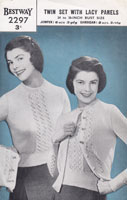 vintage ladies lacy twinset knitting pattern 1940s