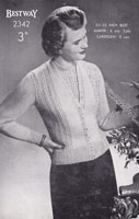 vintage ladies twinset knitting pattern 1940s