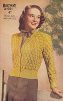 vintage ladies bestewy knitting pattern cardigan 1940s
