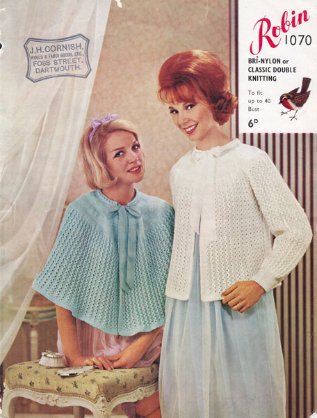 Knitting Pattern For Shawl Bed Jacket : Vintage Bed Jacket and Bedwear Knitting Patterns from The Vintage Knitting Lady