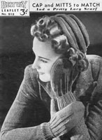 vintage ladies hat an gloves knitting pattern 1930s