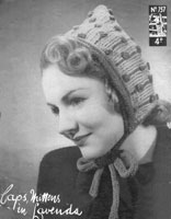 ladies hood and and gloves knitting pattern from 1940