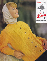 emu 2333 double knitting aran ladies cable cardigan 1960s