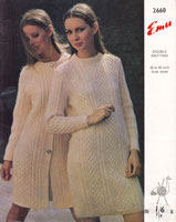 vintage emu 2660 ladies dress and coat cable aran double knitting