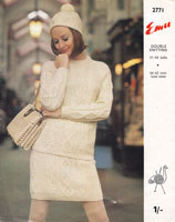 emu 2771 ladies jumper skirt hat aran cable double knitting 1960s