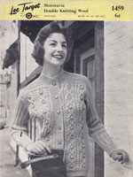 vintage lee target knitting pattern 1459 ladies cardigan 1950s
