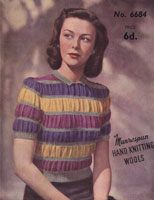 vintage jumper knitting pattern 1940s puff stripe pattern