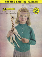 vintage girls button up cardigna marriners machine knitting pattern 1950s