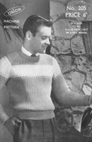 vintage mens ribbed jumper machine knitting pattern 1950s