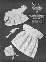 vintage baby dress set machine knitting pattern sirdar 1950s
