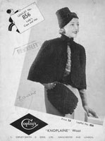 vintage ladies 1930s hat and cape knitting patterns