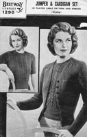 vintage ladies knitting pattern for ladies twin set jumper and cardigan 1940's