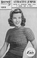 vintage knitting pattern Bestway 1940s for ladies bubble stitch jumper