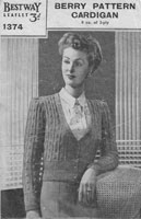 vintage ladies knitting pattern for ladies cardigan 1940s