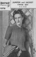 vintage ladies knitting pattern for ladies twinset cardigan and jumper 1940s