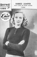vintage knitting pattern ladies 1940s jumper