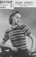 vintage ladies knitting patterns 1940s ladies stripe jumper