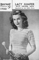vintage knitting pattern for ladies lacy jumper 1940s