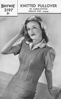 vintage ladies knitting pattern for 1940s jumper