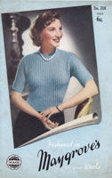 vintage ladies short sleeved jumper knitting patterns 1940s