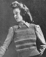 vintage ladies fair isle slipover knitting pattern from 1944