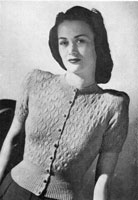 ladies vintage knitting pattern for cardigan jumper from 1944