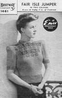 vintage fair isle knitting pattern with fair isle on the front