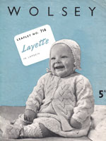 vintage baby layette knitting pattern form 1940s