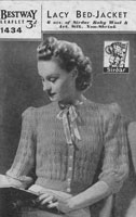 vintage ladies bed jacket knitting pattern 1940s bestway 1434