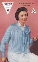 vintage ladies bed jacekt knitting pattern 1940s