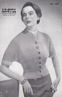 vintage ladies 1950s cardigan knitting pattern