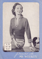 vintage knitting patternladies jumper 1940s