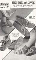 vintage slippers knitted and crochet pattern for prisoners on war in40s bestway 1185