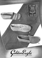 vintage ladies slipper knitting pattern from 1940s golden eagle 696