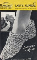 vintage ladies slippers from Homcraft no 323 made from strips of stockings 1940s