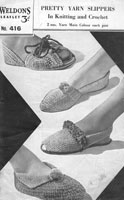 vintage ladies slippers and sandals knitting pattern 1940s weldon 416
