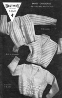 vintage baby cardigan knitting pattern from BestwayA2661 from 1940s