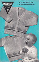 vintage baby Bestway knitting pattern with fair ils ducks round edge jumper and cardigan A2748