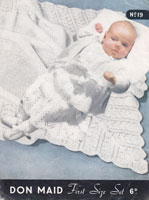 vintage baby knitting pattern 1950 including shawl