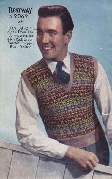 Fair Isle Knitting Patterns For Men : vintage knitting pattern for mens fair isle tank top 1940s