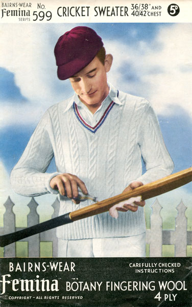 Knitting Pattern Cricket Jumper : cricket and tennis jumper knitting patterns available from The Vintage Knitti...