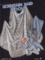 vintage baby shawl knitting pattern mountain maid201 1950s
