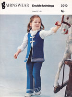 vintage girls childrens trouser suit knitting patterns
