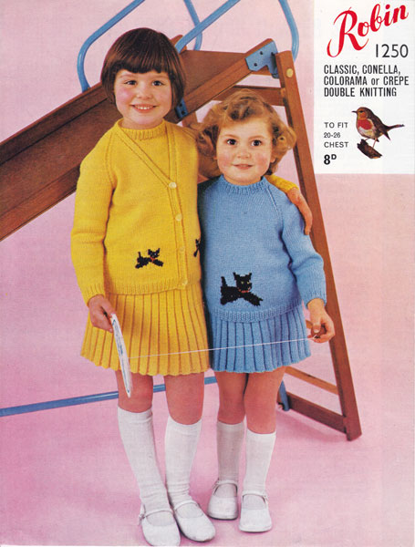 e2788443f vintage girls knitting pattern for jumper cardigan and skirt with dog motif  1960s