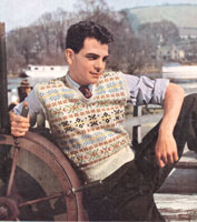 vintage young mans fair isle knitting pattern from 1940s