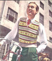 vintage young mans fair isle pullover knitting pattern 1940s