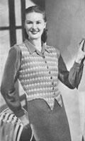 vintage ladiesharlequine waistcaot knitting pattern from 1947