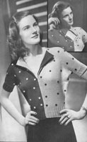 vintage ladies two colour batgwing jumper knitting pattern from 1947