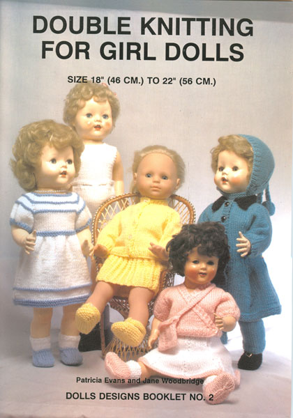 Modern knitted dolls clothes patterns available from The Vintage Knitting Lady