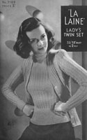 vintage ladies 1940s twin set knitting patern bairnswear 2188